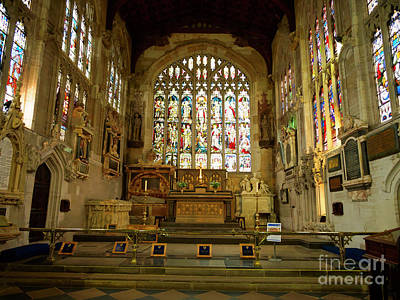 Photograph - Altar And Stained Glass Windows In Holy Trinity Church Stratford by Louise Heusinkveld