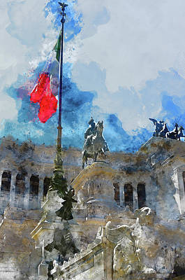 Painting - Altar Of The Fatherland, Rome - 01 by Andrea Mazzocchetti