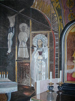 Sepulchre Painting - Altar Site Of The Crucifixtion by Palma T Poochigian