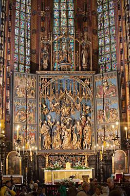 Altarpiece By Wit Stwosz In St. Mary's Basilica Print by Artur Bogacki