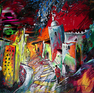 Spanish Town Painting - Altea Dream 01 by Miki De Goodaboom