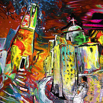 Spanish Town Painting - Altea Dream 02 by Miki De Goodaboom