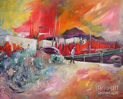Altea Painting - Altea Harbour Spain by Miki De Goodaboom