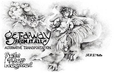 Drawing - Alternative Transportation by Dawn Sperry
