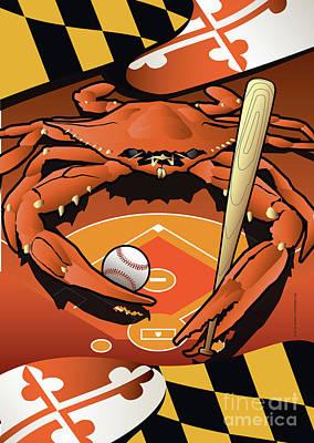 Oriole Digital Art - Baltimore Orioles Baseball Crab Maryland by Joe Barsin
