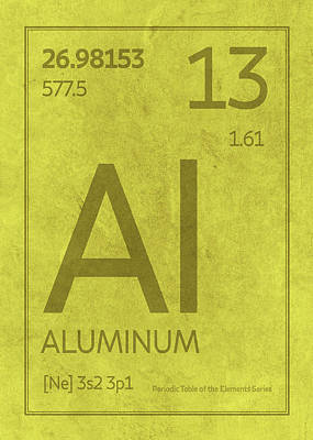 Periodic Table Wall Art - Mixed Media - Aluminum Element Symbol Periodic Table Series 013 by Design Turnpike