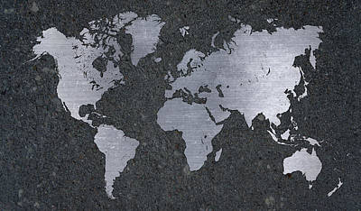Concrete Mixed Media - Aluminum Map Of The World On Concrete Slab by Design Turnpike