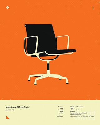 Infographic Digital Art - Aluminum Office Chair 1958 by Jazzberry Blue