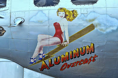 Photograph - B - 17 Aluminum Overcast Pin-up by Allen Beatty