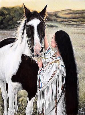 Native Women Drawing - Always By My Side by Andrew Read