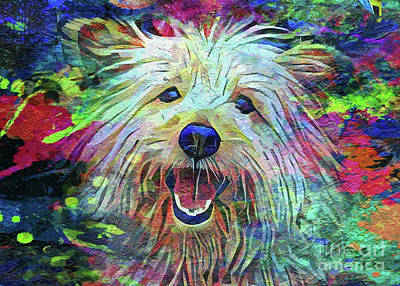 Abstract Dog Painting - Let's Go Outside by Jon Neidert
