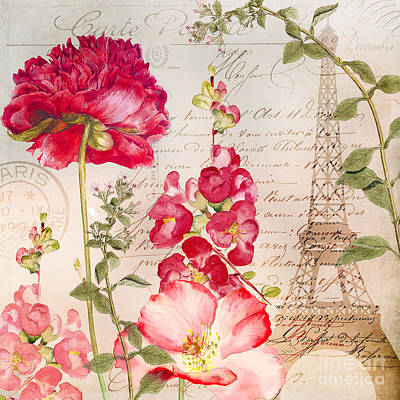 Red Geranium Painting - Always Paris II by Mindy Sommers