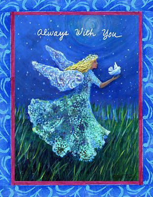 Night Sky With Moon Painting - Always With You by Gail McClure