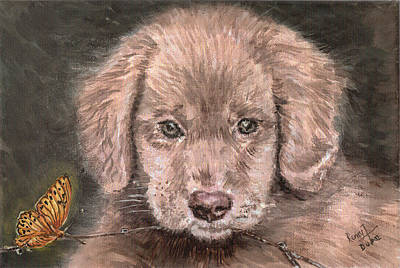 Irish Setter Puppy Dog And Orange Butterfly Art Print by Remy Francis