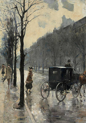 European Street Scene Painting - Am Kurfurstendamm by Lesser Ury