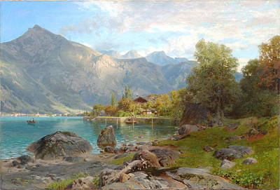 Leinwand Painting - Am Walensee by Wilhelm Alfred