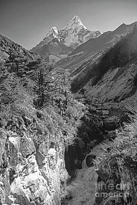 Photograph - Ama Dablam Nepal Bw by Rudi Prott