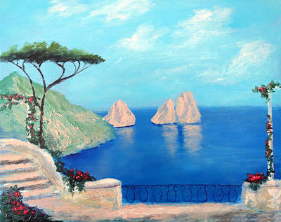 Capri Painting - Amalfi  Beauty by Larry Cirigliano