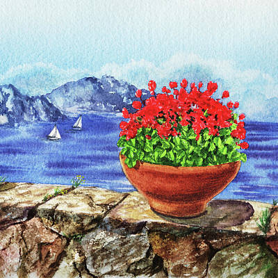 Painting - Amalfi Coast Flowers Watercolor Anacapri Island by Irina Sztukowski