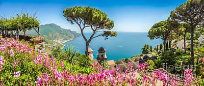 Amalfi Coast From Villa Rufolo Gardens In Ravello, Campania, Ita Art Print