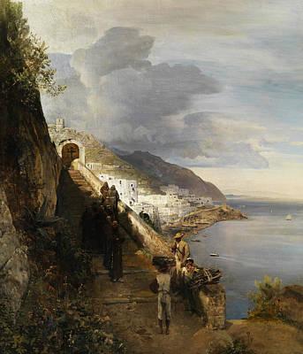German Art Painting - Amalfi Coast by Oswald Achenbach