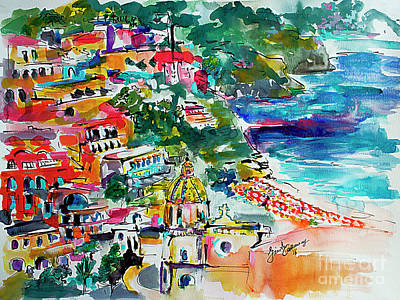 Painting - Amalfi Coast Positano Travel Art by Ginette Callaway