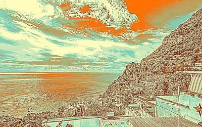 Scene Painting - Amalfi Coast Sorrento Positano Italy by Celestial Images