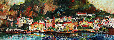 Painting - Amalfi Italy Panorama Impressionist Oil Painting by Ginette Callaway