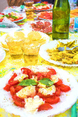 Tomato Mixed Media - Amalfi Picnic by Gary Guthrie