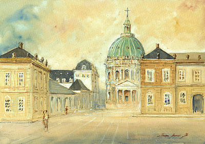 Marbles Wall Art - Painting - Amalienborg Palace Copenhagen by Juan  Bosco