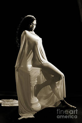 Female Nude Photograph - Amani African American Nude Sensual Sexy Fine Art Print In Sepia 4976.01 by Kendree Miller