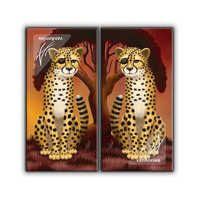 Cheetah Digital Art - Amani Duma And Amani Duma Pacha by Annie Dunn