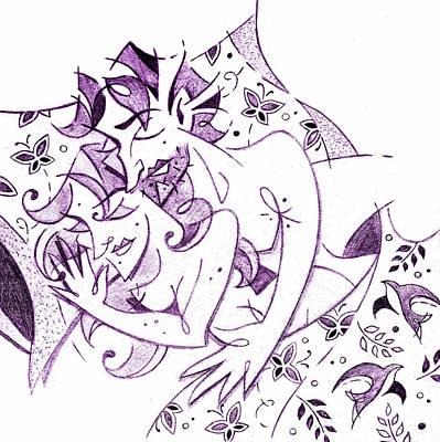 Schizzo Drawing - Amanti - Lovers Spring Feeling - Sweet Dreams Illustration by Arte Venezia