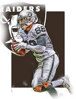 Team Mixed Media - Amari Cooper Oakland Raiders Oil Art by Joe Hamilton
