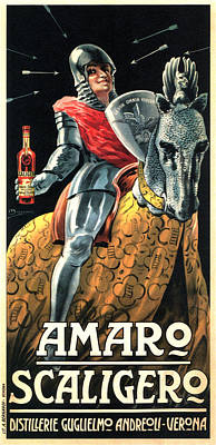 Mixed Media - Amaro Scaligero - Vintage Liquor Advertising Poster by Studio Grafiikka
