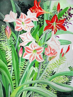 Painting - Amaryllis And Hippeastrum by Vishwajyoti Mohrhoff
