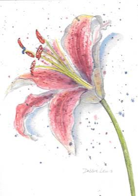 Amaryllis Watercolor Painting - Amaryllis by Debbie Lewis