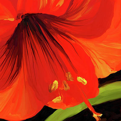 Painting - Amaryllis Flower - Square by Jai Johnson