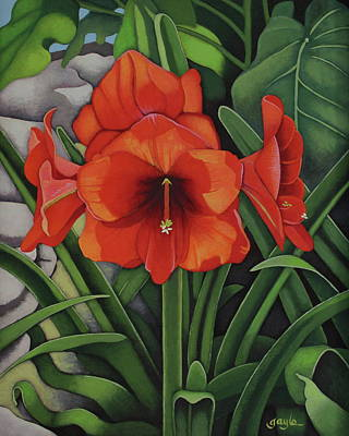 Painting - Amaryllis by Gayle Faucette Wisbon