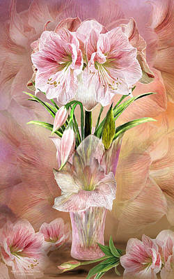 Mixed Media - Amaryllis In Amaryllis Vase by Carol Cavalaris