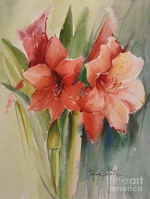Amaryllis Watercolor Painting - Amaryllis by Regina Pimenta