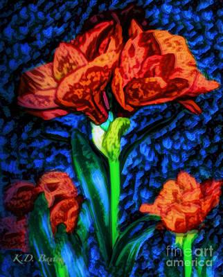 Photograph - Amaryllis Van Gogh Style  by Kimberlee Baxter