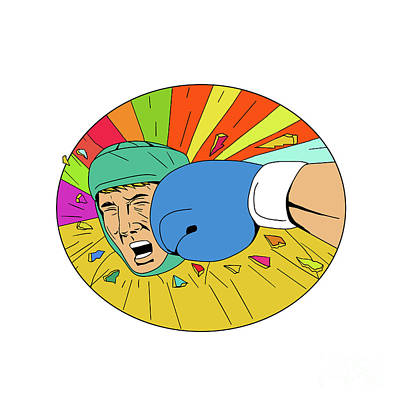 Amateur Boxer Hit By Glove Punch Oval Drawing Art Print