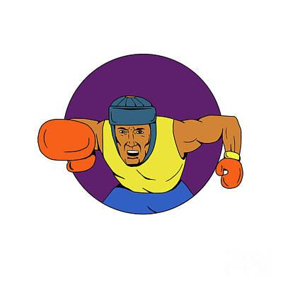Amateur Boxer Punching Circle Drawing Art Print