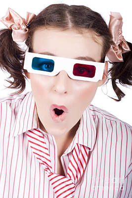 Perception Photograph - Amazed Woman Watching 3d Movie In Glasses by Jorgo Photography - Wall Art Gallery