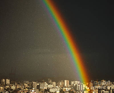 Photograph - Amazing Bright Rainbow Over City by Anna Om