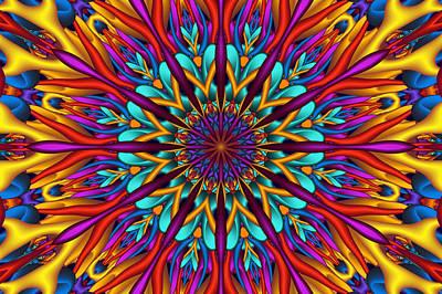 Digital Esoteric Digital Art - Amazing Colors 3d Mandala by Natalia Bykova