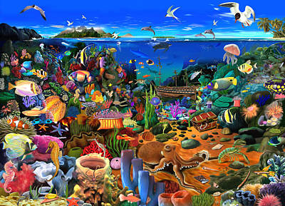 Caribbean Sea Digital Art - Amazing Coral Reef by Gerald Newton