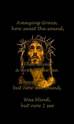 Jesus Drawing - Amazing Grace A Christian Hymn A by Movie Poster Prints