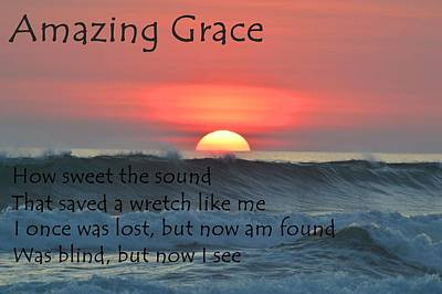 Sunset Digital Art - Amazing Grace Ocean Sunset by Movie Poster Prints